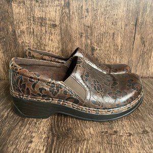 Klogs Brown Floral Leather Open Back Comfort Clogs